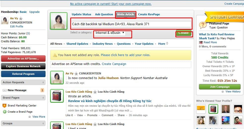 Tạo backlink tại APSENSE trang mạng xã hội chất lượng
